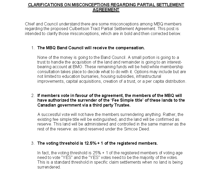 Clarification on Culbertson Tract Partial Settlement